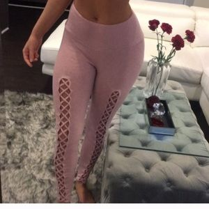 Pink Front Tie Stretchy Pants